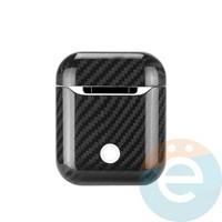 Чехол carbon fiber для наушников Apple AirPods 1/2 чёрный