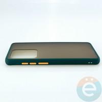 Накладка пластиковая матовая с силиконовой окантовкой для Samsung Galaxy S11 Plus зелёная