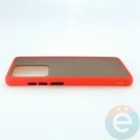 Накладка пластиковая матовая с силиконовой окантовкой для Samsung Galaxy S11 Plus красная