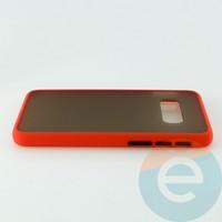 Накладка пластиковая матовая с силиконовой окантовкой для Samsung Galaxy S10E красная