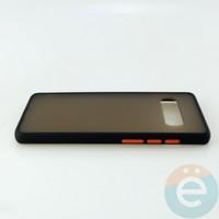 Накладка пластиковая матовая с силиконовой окантовкой для Samsung Galaxy S10 Plus чёрная