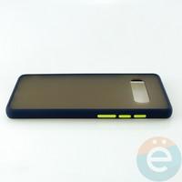 Накладка пластиковая матовая с силиконовой окантовкой для Samsung Galaxy S10 Plus синяя