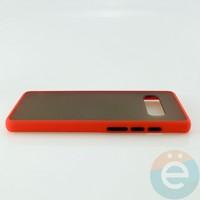 Накладка пластиковая матовая с силиконовой окантовкой для Samsung Galaxy S10 Plus красная