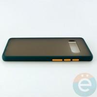 Накладка пластиковая матовая с силиконовой окантовкой для Samsung Galaxy S10 Plus зелёная