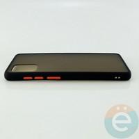 Накладка пластиковая матовая с силиконовой окантовкой для Samsung Galaxy A71 чёрная