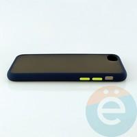 Накладка пластиковая матовая с силиконовой окантовкой для iPhone 6/6s/7/8 синяя