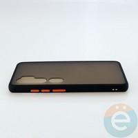 Накладка пластиковая матовая с силиконовой окантовкой для Xiaomi Mi Note 10 чёрная