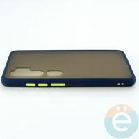 Накладка пластиковая матовая с силиконовой окантовкой для Xiaomi Mi Note 10 синяя
