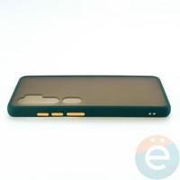 Накладка пластиковая матовая с силиконовой окантовкой для Xiaomi Mi Note 10 зелёная