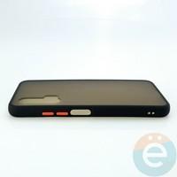 Накладка пластиковая матовая с силиконовой окантовкой для Huawei Nova 6 чёрная