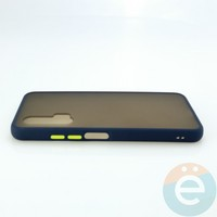 Накладка пластиковая матовая с силиконовой окантовкой для Huawei Nova 6 синяя