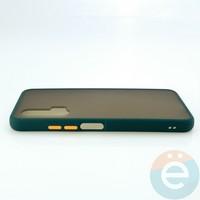 Накладка пластиковая матовая с силиконовой окантовкой для Huawei Nova 6 зелёная