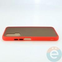Накладка пластиковая матовая с силиконовой окантовкой для Huawei Nova 6 красная