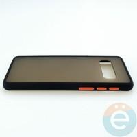 Накладка пластиковая матовая с силиконовой окантовкой для Samsung Galaxy S10 чёрная
