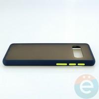 Накладка пластиковая матовая с силиконовой окантовкой для Samsung Galaxy S10 синяя