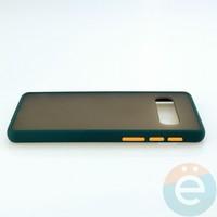 Накладка пластиковая матовая с силиконовой окантовкой для Samsung Galaxy S10 зелёная