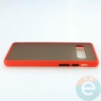 Накладка пластиковая матовая с силиконовой окантовкой для Samsung Galaxy S10 красная