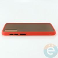 Накладка пластиковая матовая с силиконовой окантовкой для Samsung Galaxy A50 красная
