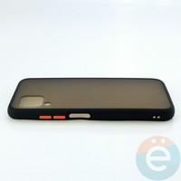 Накладка пластиковая матовая с силиконовой окантовкой для Huawei Nova 6SE чёрная