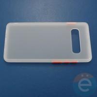 Накладка пластиковая матовая с силиконовой окантовкой для Samsung Galaxy S10 Plus белая