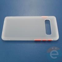 Накладка пластиковая матовая с силиконовой окантовкой для Samsung Galaxy S10 белая