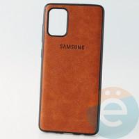 Накладка кожаная с логотипом для Samsung A71 коричневая