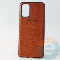 Накладка кожаная с логотипом для Samsung S11 коричневая