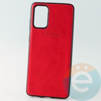 Накладка кожаная с логотипом для Samsung S11 красная