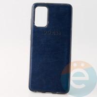 Накладка кожаная с логотипом для Samsung S11 синяя