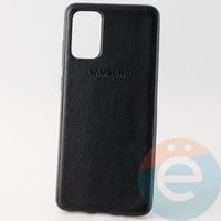 Накладка кожаная с логотипом для Samsung S11 чёрная