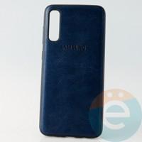 Накладка кожаная с логотипом для Samsung A70s синяя