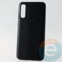Накладка кожаная с логотипом для Samsung A70s чёрная