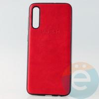 Накладка кожаная с логотипом для Samsung A30s красная