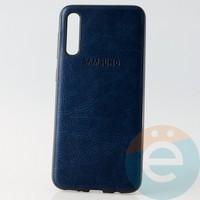 Накладка кожаная с логотипом для Samsung A30s синяя