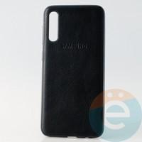 Накладка кожаная с логотипом для Samsung A30s чёрная