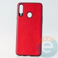 Накладка кожаная с логотипом для Samsung A20s красная