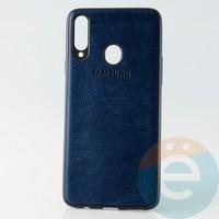 Накладка кожаная с логотипом для Samsung A20s синяя