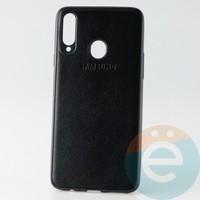 Накладка кожаная с логотипом для Samsung A20s чёрная