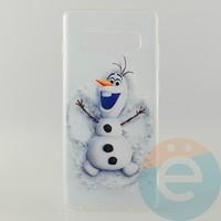 Накладка силиконовая с рисунком для Samsung S10+ Снеговик Олаф
