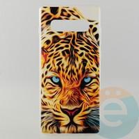 Накладка силиконовая с рисунком для Samsung S10+ Леопард