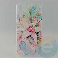 Накладка силиконовая с рисунком для Huawei Honor 20 Цветы