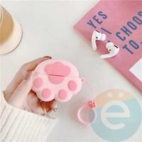 Чехол силиконовый для наушников Apple AirPods Pro розовый с розовой лапкой