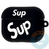 Чехол силиконовый для наушников Apple AirPods Pro Supreme чёрный