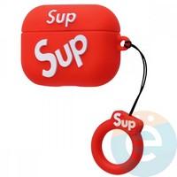 Чехол силиконовый для наушников Apple AirPods Pro Supreme красный