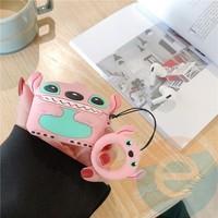 Чехол силиконовый для наушников Apple AirPods Стич розовый