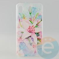 Накладка силиконовая с рисунком для Samsung A10 Цветы