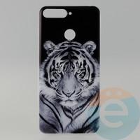 Накладка силиконовая с рисунком для Huawei Y6 2018 Тигр