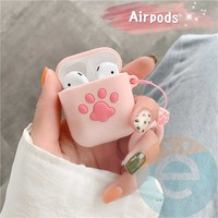 Чехол силиконовый для наушников Apple AirPods 1/2 розовый с лапкой