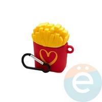 Чехол силиконовый для наушников Apple AirPods картошка фри (категория А)