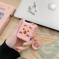 Чехол силиконовый для наушников Apple AirPods Розовая пантера